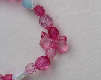 Pink girl necklace with matching bracelet