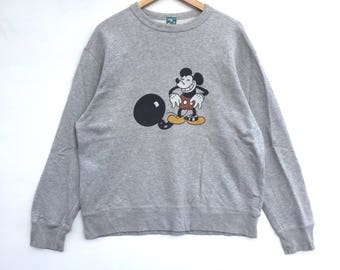 Mickey mouse Sweatshirt Silver colour Big Logo Embroidery Sweat Medium Size Jumper Pullover Jacket Sweater Shirt Vintage 90's