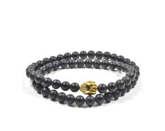 6 mm Onyx Wraparound with Golden CZ Buddha Bracelet Set