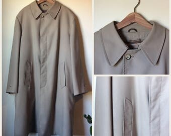 Vintage Sears mens minimalist beige overcoat 46 tall