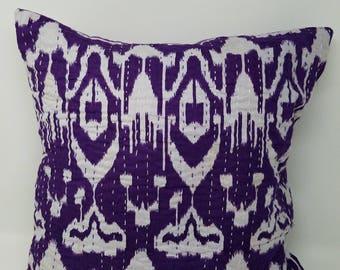 100% Cotton Ikat Kantha Pillow, Purple and White, Free Shipping