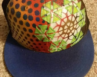 Handpainted glow in the dark fitted hat
