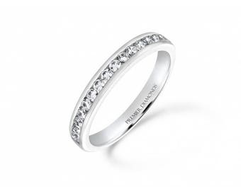 Classic channel set round brilliant cut diamond half eternity ring 0.34 carat - Engagement Ring, White/Rose/Yellow Gold, Platinum, Palladium