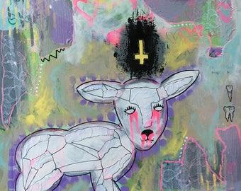 In God's Eyes ~ Original Multimedia Artwork on Canvas