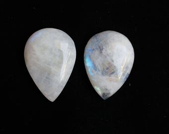 Natural White Rainbow 62 Carat 02 Piece Gemstone, Gemstone Size 30x21x8, 30x21x8 MM Approx, White Rainbow Stone Wholesale Supply