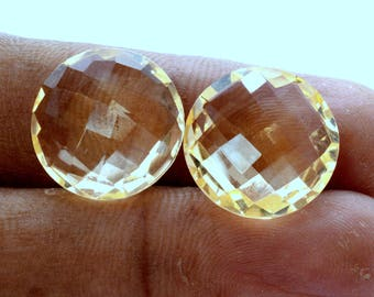 Natural Citrine Round Checker Cut Pair 16 mm 20.56 CTS Lustrous Loose Gemstones