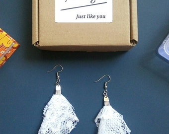 White Feather Upcycled Earrings