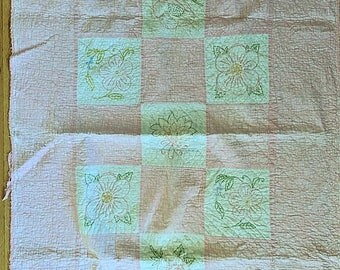 Baby Blanket Embroidered with Stylized Flowers Block Quilt has Backing Hand Quilted