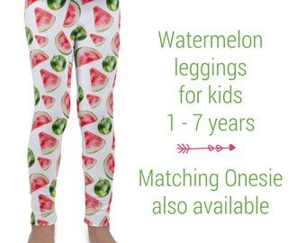 Watermelon Kid's leggings, Watercolor fruit pants for toddlers and preschoolers