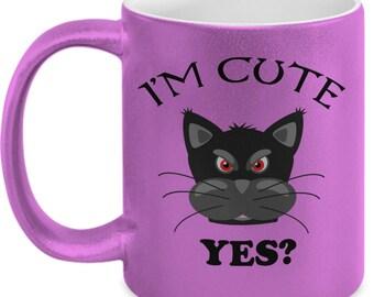 Black Cat Mug, Funny Cat Mug, Cat Mug for Cat Lover, Gift Idea, Gift for Cat Lover, Coffee Mug, Tea Mug, Mugs, Metallic Finish Mugs