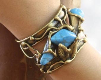 Brass Cuff Bracelet with Turquoise