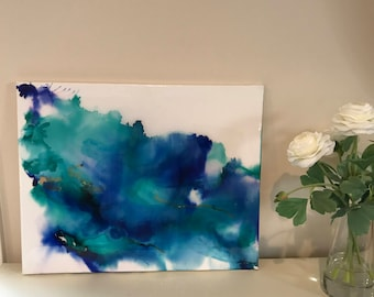 """Original Abstract Alcohol Ink Art- Blue, Green, Gold with Resin Coat 20"""" x 16"""" on Stretched Canvas"""