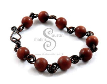 Goldstone Bracelet with Antique Finish Copper Wire, Handcrafted Elegant Beaded Bracelet