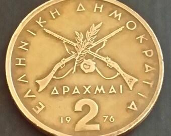 Coin 2 drachmas 1976 Greece