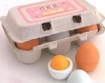 6x Wooden Eggs Yolk Pretend Play Kitchen Food Cooking Kids Children Baby Toy Set