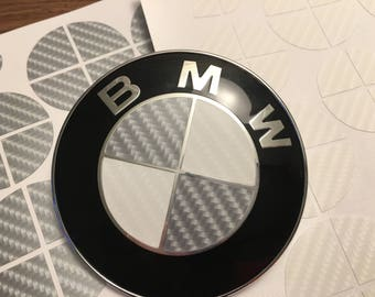 Gray and White Carbon Fiber Vinyl Overlay Decal for ALL BMW Emblems