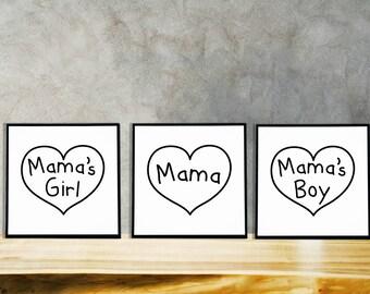 "Mama, Mama's Girl, Mama's Boy Framed Poster Print | 8"" x 8"" Black Frame | Family Wall Art Home Decor Print Gift"
