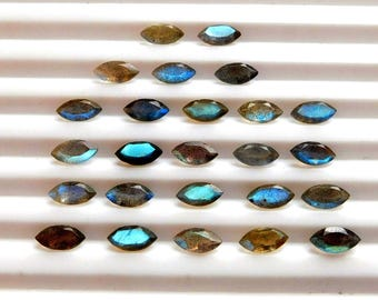 Blue Flashy 10 pcs LABRADORITE Faceted Marquise Gemstone Faceted 3X6 MM Labradorite Marquise Gemstone Natural Labradorite Faceted Loose Gems