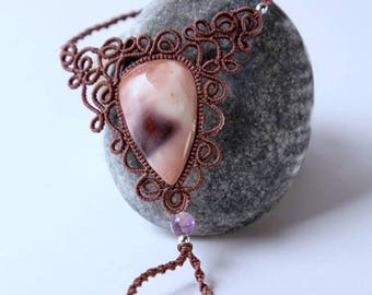 Macrame bracelet/ Micromacrame bracelet/ Slave bracelet with natural stone