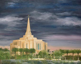 Gilbert Arizona LDS Temple on stretched canvas Oil Painting