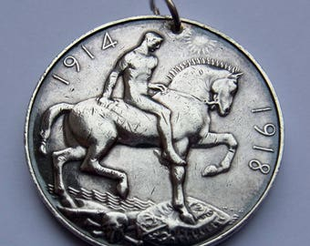 World War I Service Medal 1918 - sterling silver - made into a pendant - 29.4 grams