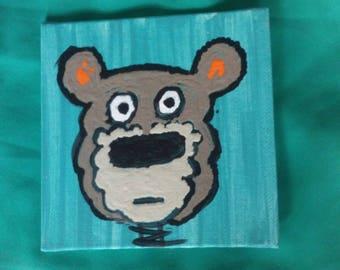 Startled Bear 4x4 acrylic original painting