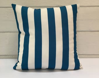 Blue & White Striped Outdoor Cushion