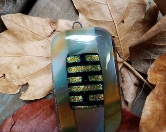 Pendant: fall swirls with dichro bricks
