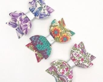 Paisley Liberty hair bow clip Set of 3 Small headband hair accessories nylon