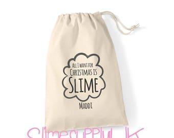 All I want for Christmas is slime gift bag | Slime bag | Children's slime gifts | Christmas gift bag | Christmas bag
