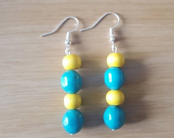 Blue and yellow bead silver earrings