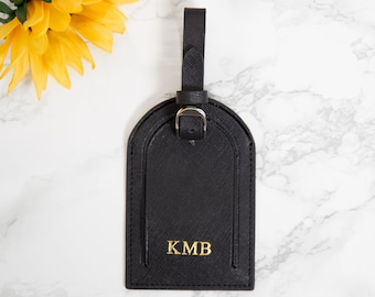 Personalised Saffiano Leather luggage Tags -Black, Monogrammed Customised initials Couples Travel Gifts, Honeymoon, Wedding Travel Gifts