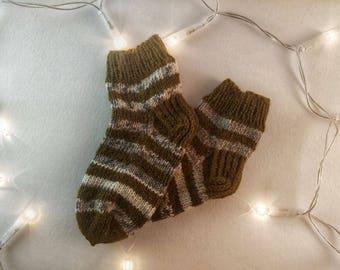 Winter Socks - Knitted Socks- Cable Knit Socks - Winter Clothes - Knitted Socks Wool socks for kids handmade 14cm  (22-23 EU)