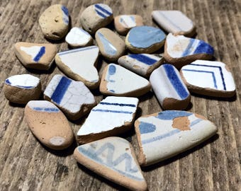 Sea Pottery Craft Mix Mini Beach Pottery Shards * Light Blue White Ocean Deco Pottery * Great Italian Supplies * Natural Beach Pottery Lot