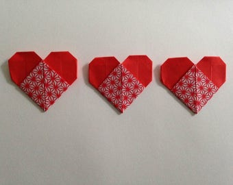Fourteen Patterned Origami Hearts Table Decorations