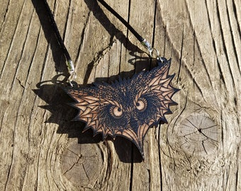 Owl wooden necklace