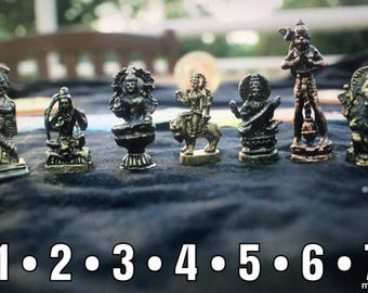 Mini brass figurines of Hindu Gods and Goddesses