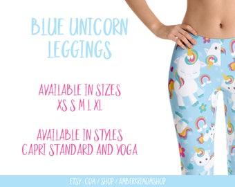 Leggings, Woman's Printed Leggings, Cute Leggings, Unicorn Leggings, Blue Unicorn Leggings, Blue Unicorn Capri Leggings