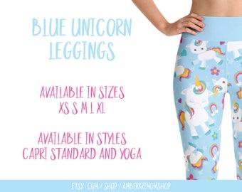 Leggings, Woman's Printed Leggings, Yoga Leggings, Cute Leggings, Unicorn Leggings, Blue Unicorn Leggings, Blue Unicorn Yoga Leggings