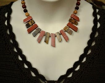 Red Jasper and Tiger Eye Choker Necklace