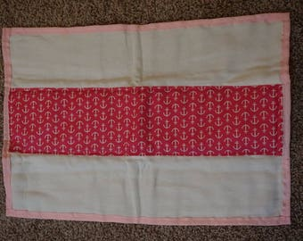 Pink anchors burp cloth