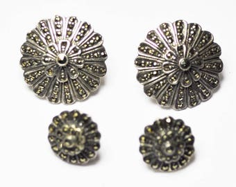 Sterling Silver Hematite Floral Stepped Pedal Earrings Set 13mm and 21mm Pierced