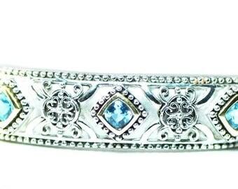Beautiful Sterling Silver and 14k 3 Cushion Cut Blue Topaz Cuff Bangle Bracelet