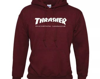 Thrasher hoodie jacket unisex high quality vinyl print