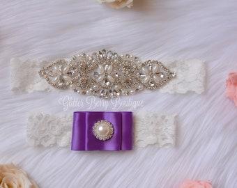 Wedding garter, purple bridal garter, purple wedding garter, purple wedding garter, purple bridal garter, keep and toss garter