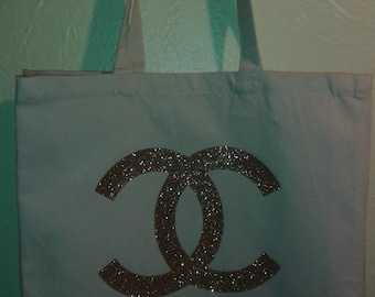 Large Gold Glittered Chanel Inspired Tote Bag