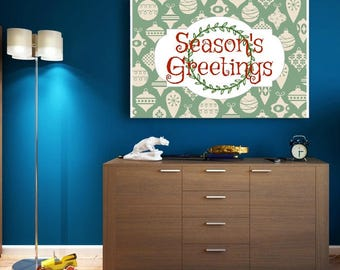Season's Greetings printable wall art poster instant download