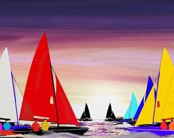 Sailing Race - Framed giclee digital art print.