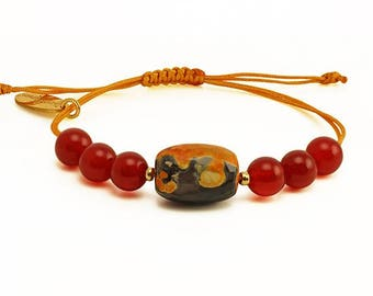 Agate and Carnelian, On Fire Bracelet with Fire Agate and Carnelian gemstones jewel, jewelry