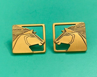 Vintage Laurel Burch Gold Tone Horse Horse Head Pieced Earrings